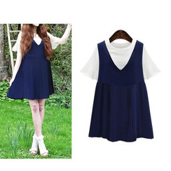 VIZZI - Set: Short Ruffle Sleeve Blouse + Pleated Pinafore Dress