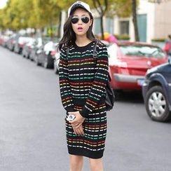 Jack Grace - Set: Striped Knit Top + Pencil Skirt