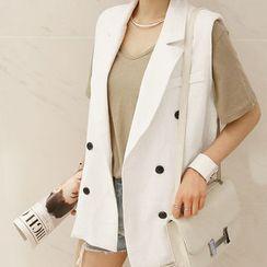 NANING9 - Linen Notch-Lapel Vest