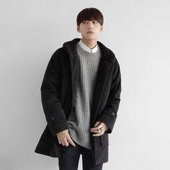 Seoul Homme - Fleece-Lined Collar Wool-Blend Coat