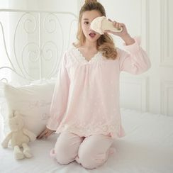 Snorie - Lounge Wear Set: Long-Sleeve V-Neck Top + Pants