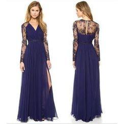 Persephone - Lace Panel V-Neck Long-Sleeve Maxi Chiffon Dress