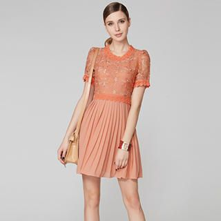 O.SA - Embroidered Lace-Panel Pleated Dress