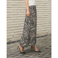 GUMZZI - Pattern Wide-Leg Pants