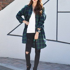 Everose - Long-Sleeve Plaid Long Blouse