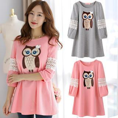 Bubbleknot - 3/4-Sleeve Lace-Panel Owl-Print Tunic