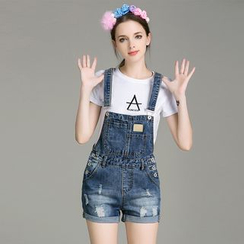Cherry Dress - Set: Short-Sleeve T-shirt + Distressed Denim Short Dungaree