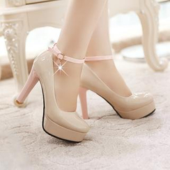Pastel Pairs - 踝带厚底高跟鞋