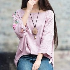 Diosa - 3/4-Sleeve Embroidered Linen T-Shirt