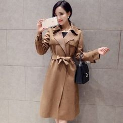 Sienne - Faux Suede Trench Coat with Sash