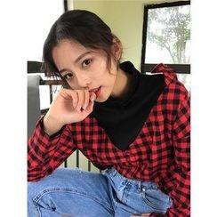 气质淑女 - 格子假两件衬衫