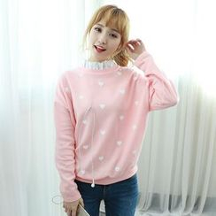 Dodostyle - Frilled-Neck Heart Patterned Pullover