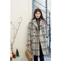 CHERRYKOKO - Notched-Lapel Buttoned Plaid Wool Blend Coat