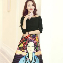 Romantica - Set: Off-Shoulder Top + Printed Skirt