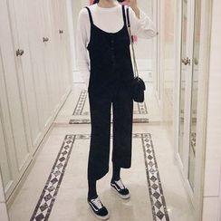 Seoul Fashion - Buttoned Knit Jumper Pants