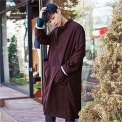 TOMONARI - Notched-Lapel Buttoned Cotton Long Coat