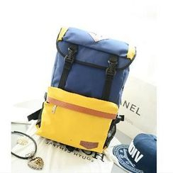 LineShow - Color-Block Canvas Backpack