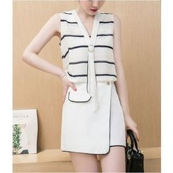 Eighoo - Set: Striped Sleeveless Chiffon Top + Piped Flap A-Line Skirt