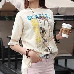 CHICFOX - Round-Neck Printed T-Shirt