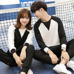 Je T'aime - Couple Matching Raglan Panel Sweatshirt