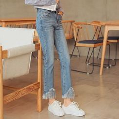 HotBlock - Fringe Boot Cut Jeans