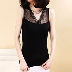 camikiss - Lace Panel Tank Top