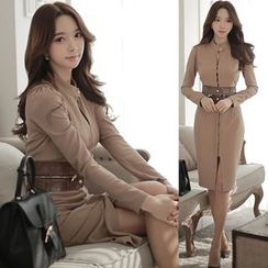 Clospace - Long-Sleeve Slit Sheath Dress