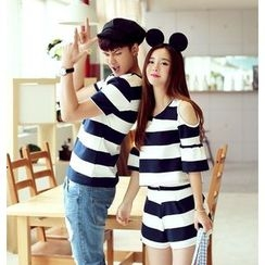 We Belong - Couple Matching Striped Short Sleeve T-Shirt / Cut Out Shoulder T-Shirt + Shorts