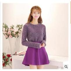 SUYISODA - Set: Bouclé Sweater + A-Line Skirt