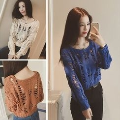 QZ Lady - Distressed Cropped Sweater