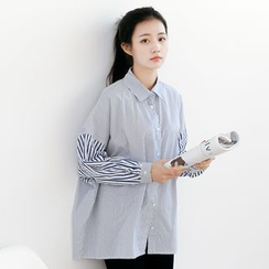 Forest Girl - Striped Panel Loose Fit Shirt