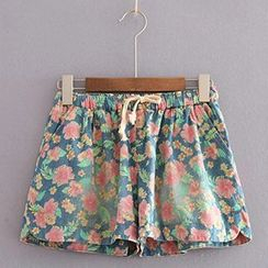 Angel Love - Floral Denim Shorts