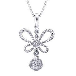 MaBelle - 18K/750 White Gold Butterfly Diamond Pendant (0.16 cttw) (FREE 925 Silver Box Chain)