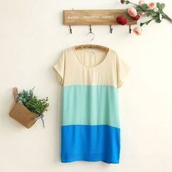 11.STREET - Colour Block Short-Sleeve Dress
