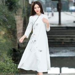 Ebbie - 小鸟印花七分袖旗袍