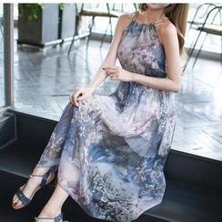 Dowisi - Floral Print Halter Chiffon Dress