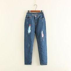 Mushi - Cartoon Print Jeans