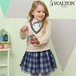 WALTON kids - Girls Set: Inset Shirt Top + Inset Plaid Mini Skirt Leggings