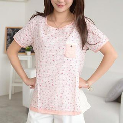 59 Seconds - Short-Sleeve Foral Top