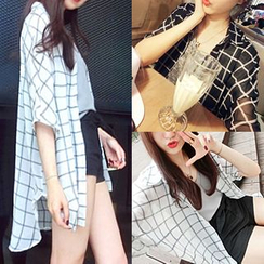 QZ Lady - Elbow-Sleeve Chiffon Check Shirt