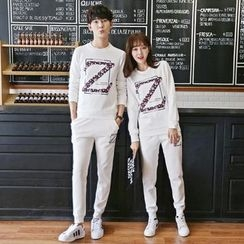 Breeson - Couple Matching Set: Floral Print Pullover + Drawstring Pants