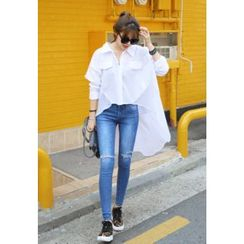 REDOPIN - Dip-Back Chiffon Trim Shirt