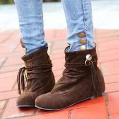 Shoes Galore - Fringed Short Boots