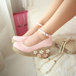 Pastel Pairs - Floral Ankle Strap Wedge Pumps