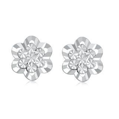 MaBelle - 14K/585 White Gold Diamond Cut Flower Earrings