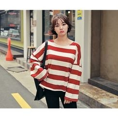 HOTPING - Drop-Shoulder Striped Top