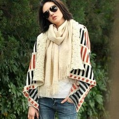 SO Central - Wool-Blend Shawl Collar Striped Knit Jacket