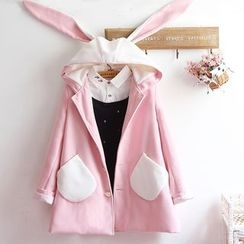 akigogo - Ear Hooded Woolen Coat