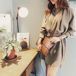NANING9 - Belted Open-Placket Long-Sleeve Dress