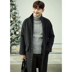JOGUNSHOP - Funnel-Neck Hidden-Button Coat